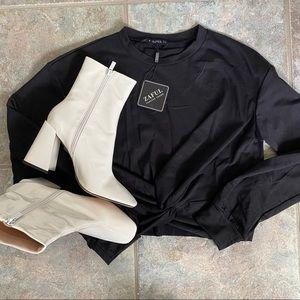 Zaful black long sleeve knot top